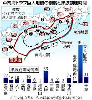 南海トラフ地震 予測 地図