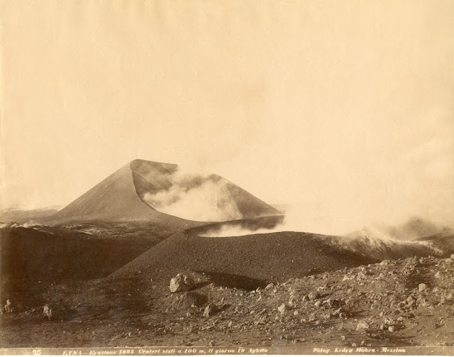 Cinder cones on Etna. This is one of a series of photographs taken July to September 1892 that gave rise to the Monti Silvestri crater row.   Presented by Professor G. Platania of Aci Reale, Sicily. Photograph held in the BGS Archives, Keyworth. Archive reference GSM/GX/Pa/1.