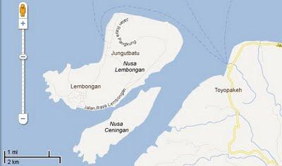 Ceningan Island map