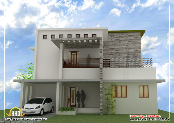 Contemporary Home Design - 2087 Sq. Ft. (194 Sq. M.)(232 Square Yards) - March 2012