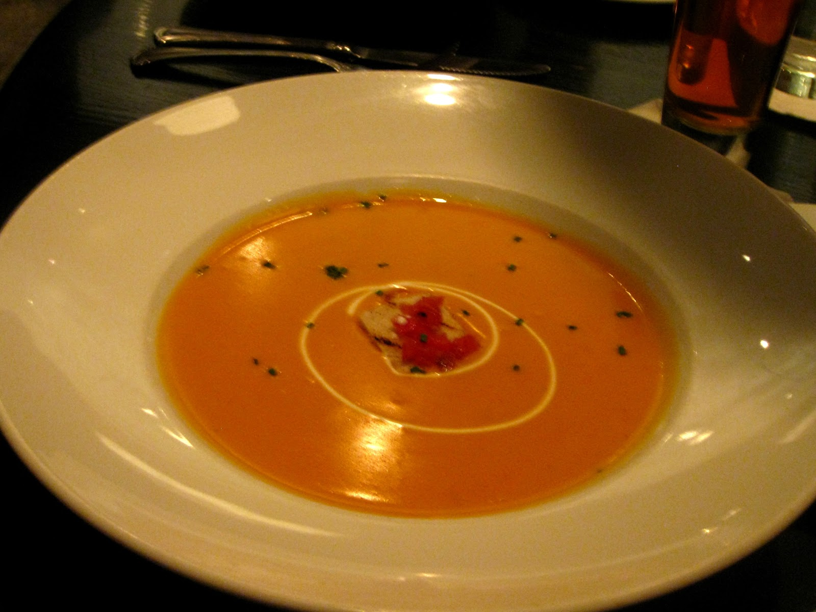 the third appetizer choice was shrimp bisque as you can