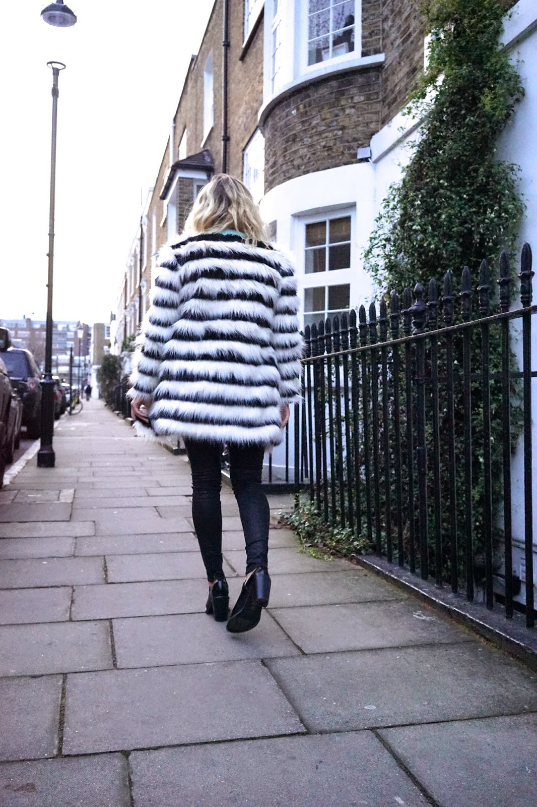 black and white stripe monochrome coat