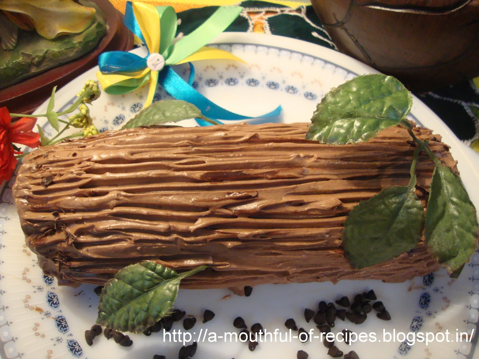 A Mouthful Of Recipes: Chocolate Yule Log (Bûche de Noel)