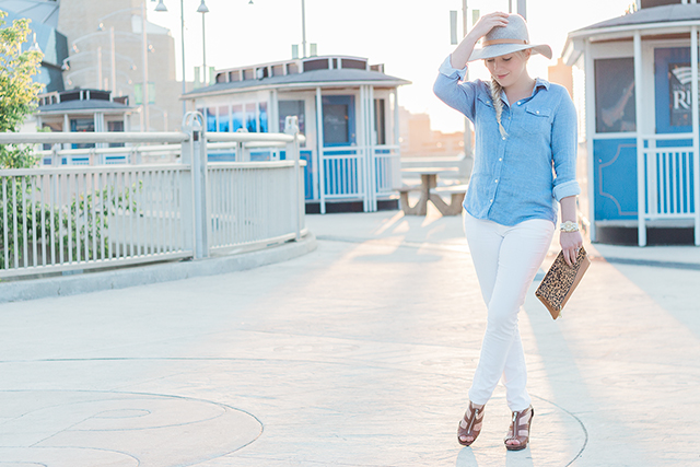 Button down chambray top with white jeans.