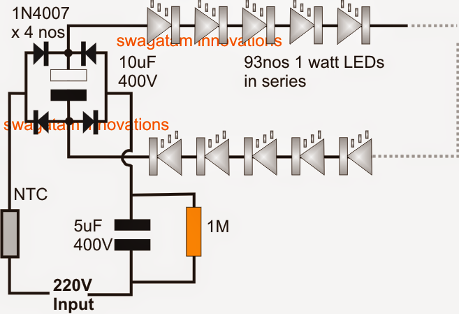 Simplest 100 Watt Led Bulb Circuit