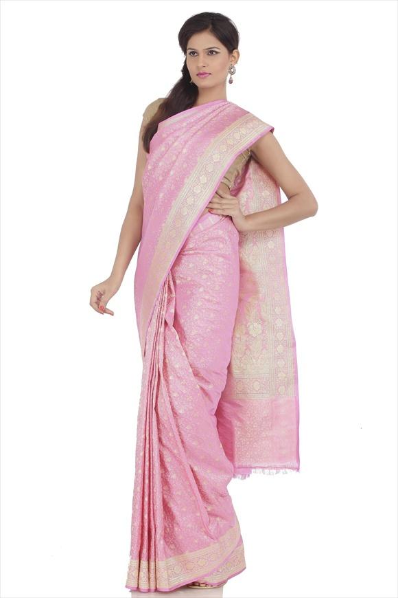 Baby Pink Satin Banarasi Saree
