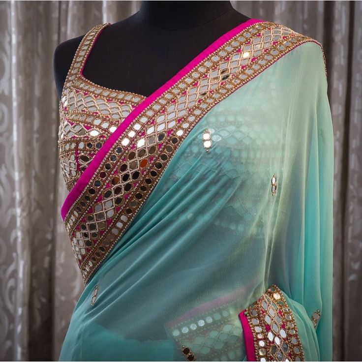 saree blouse designs mirror work saree blouse designs