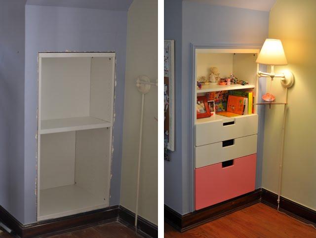 Space Saving Stuva Storage Closet And Shelf Inset Into Wall