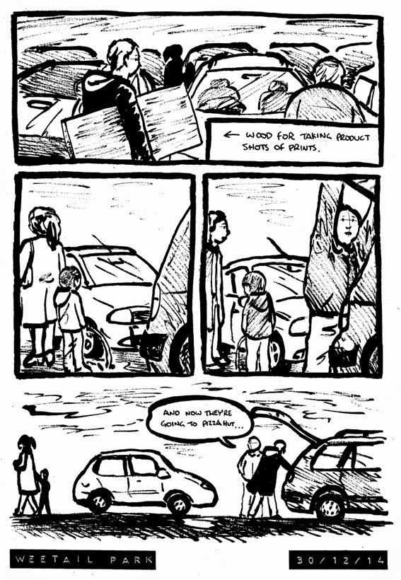 Comic about a kid relieving himself by the car parked behind ours, before his mum takes him to pizza hut