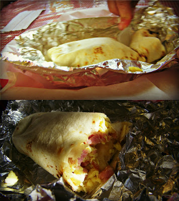 A spam and egg burrito from Mamba's Kitchen on San Mateo in Albuquerque, New Mexico