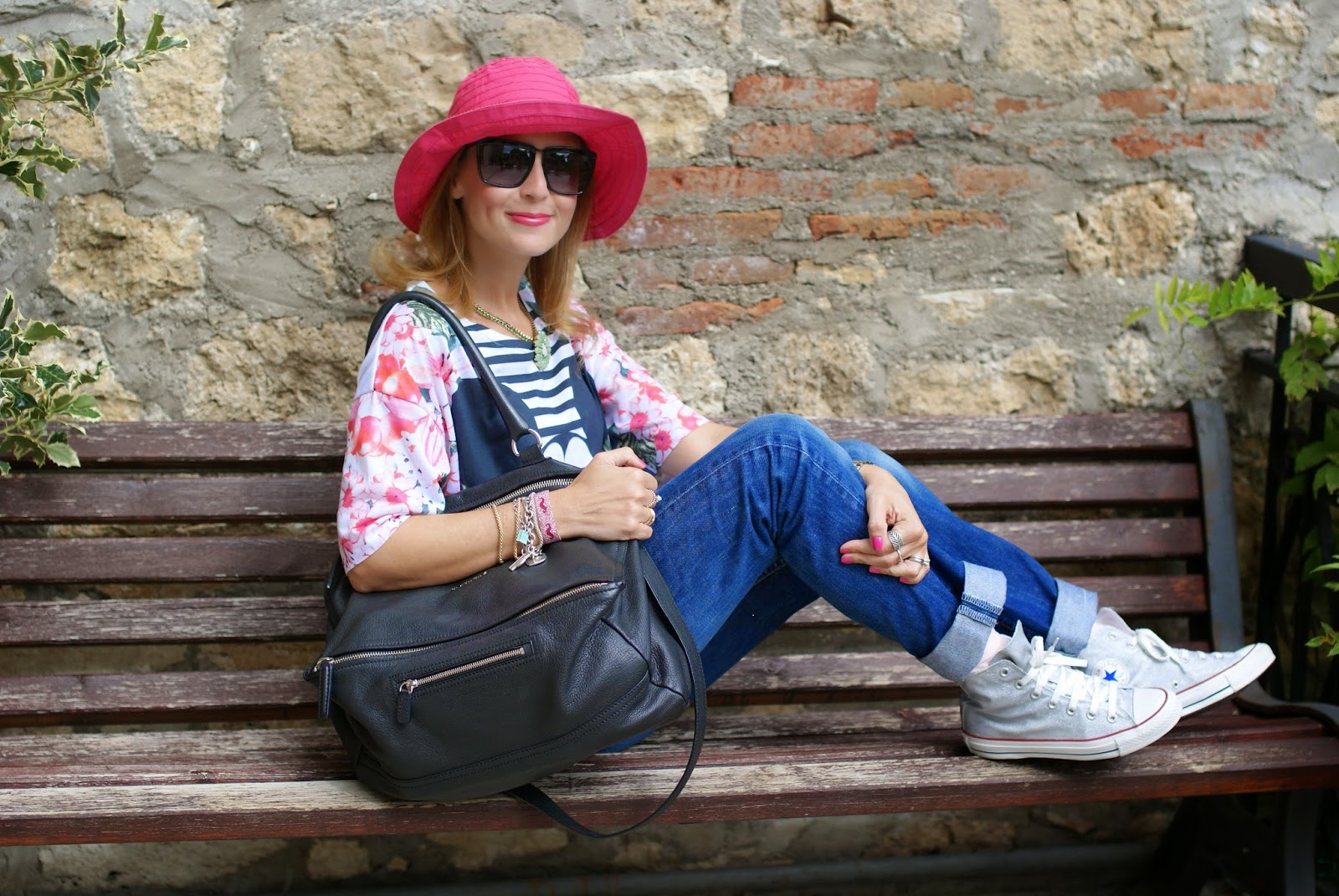 fuchsia hat, asos mickey mouse t-shirt, Fashion and Cookies, fashion blogger