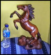 patung kuda stw kayu jati