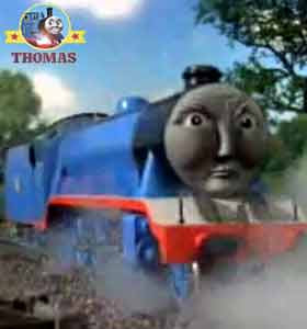 A red railway signal diverted Thomas the tank engine big Gordon the train into a rail track siding