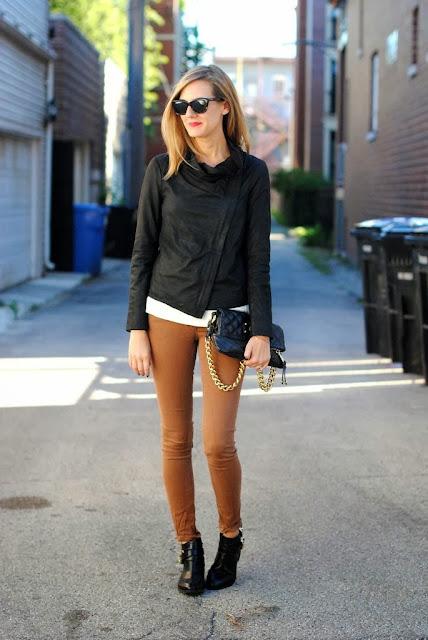 Black Jacket,Bag,Shoe And Brown Pant