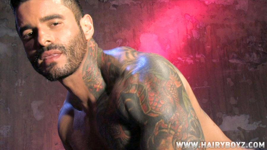 Hairy tattoed porn star Alexsander Freitas jerks off at HAIRY BOYZ Keywords: