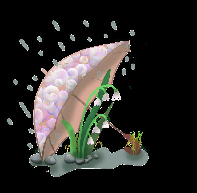 Un brin de muguet, bien à l'abri sous un parapluie. Illustration de 1er mai, réalisée par Florence Gobled, auteur de livres pour les enfants et illustrateur jeunesse à Autun en Bourgogne