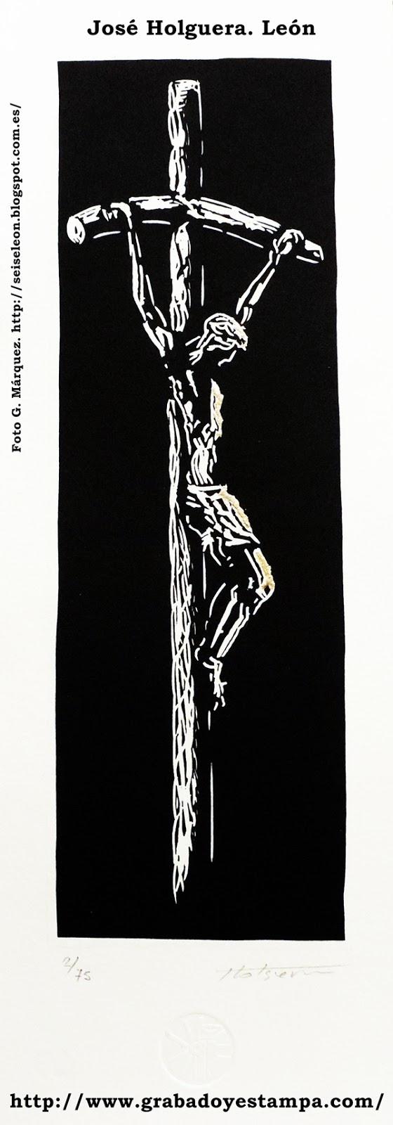 Grabado de Crucificado obra del artista grabador José Holguera. 2014.