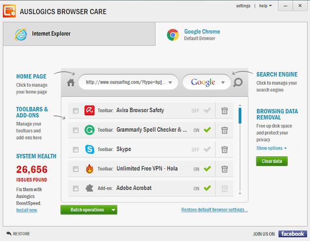 التخلص من الإضافات والأدوات المزعجة علي المتصفح Auslogics Browser Care