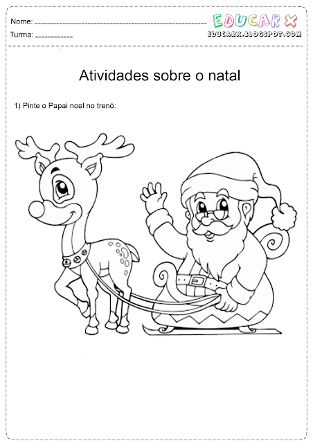 Colorindo o Papai Noel e suas renas Hello Kids