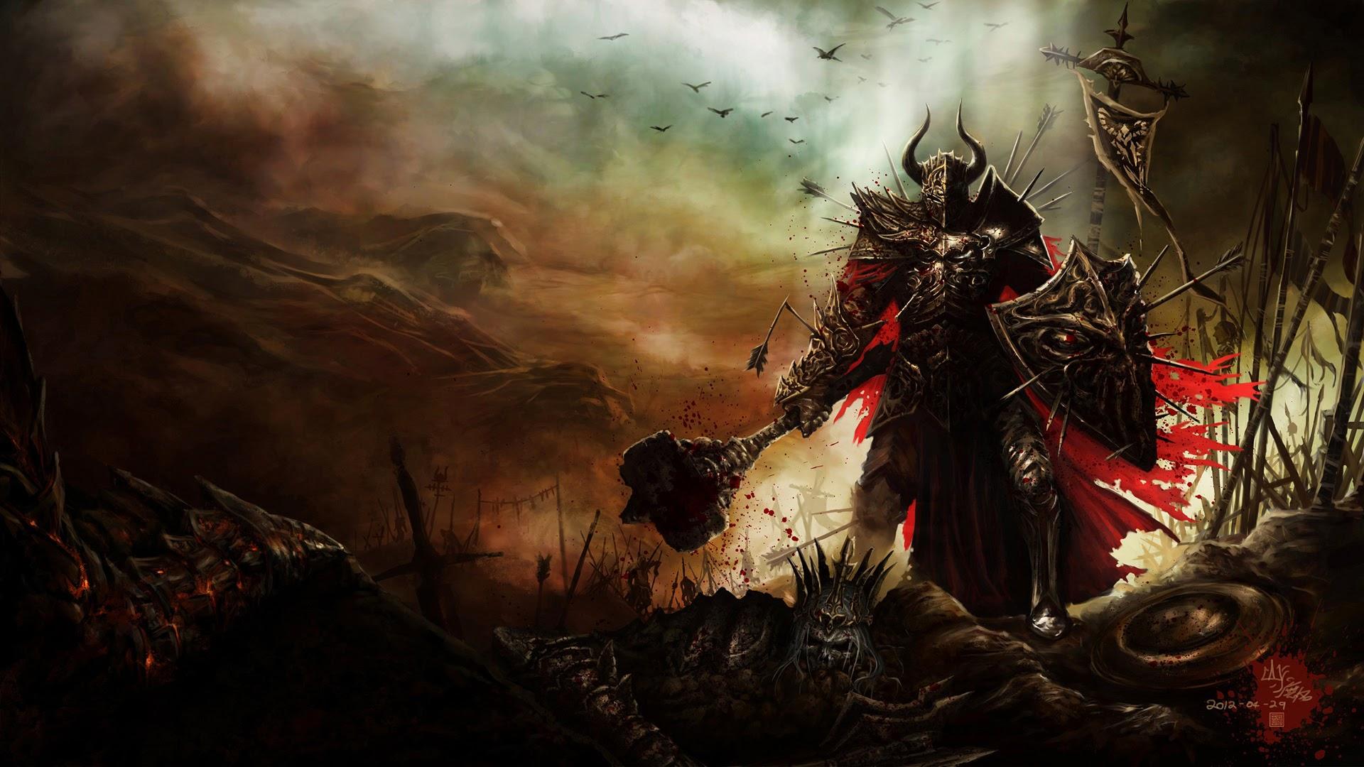 Diablo 3 Game Warrior Weapon Armor Shield A617 HD Wallpaper