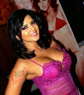 Sunny Leone hot in pink dress