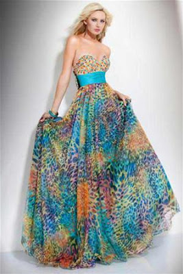 renkli uzun elbise