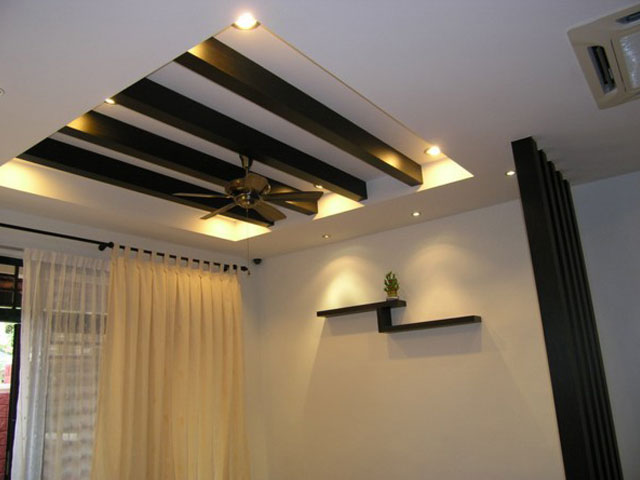 plaster ceiling with wooden divider design 3d design with light tough ...