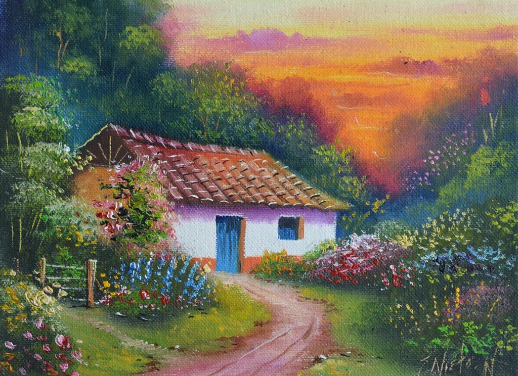 Im genes arte pinturas paisajes f ciles de pintar - Casa rural pueblos negros ...