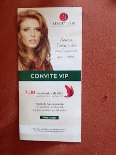 Convite VIP Beauty fair 2013 - feira de maquiagem, cosméticos, estéticos, higienes, cursos destinados a profissionais e administradores, proprietários e financeiros.