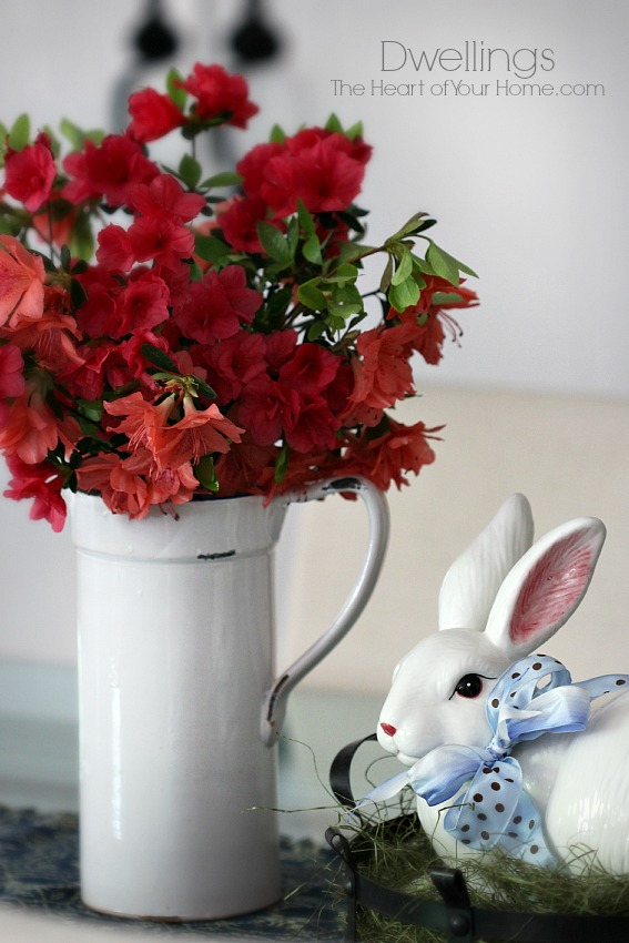 red azaleas and bunny basket