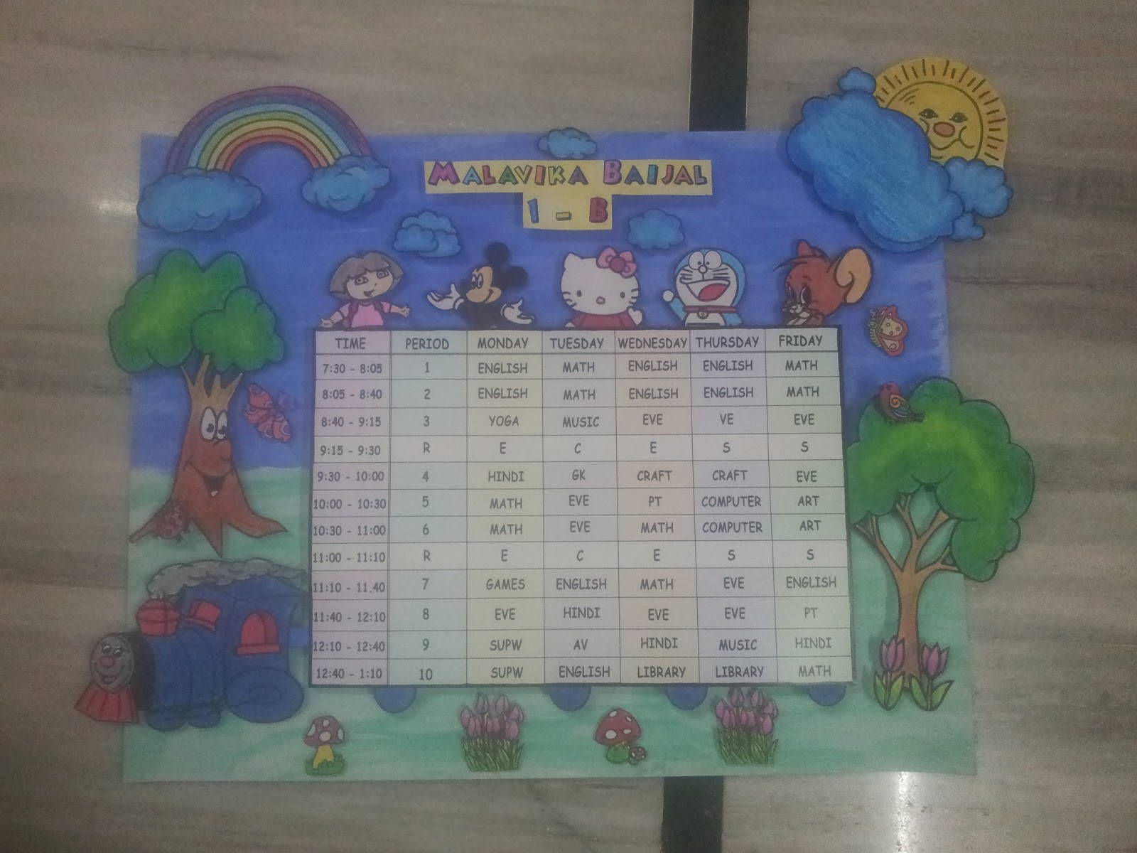 Mana 39 s creative ideas timetable and charts for classrooms Table making ideas