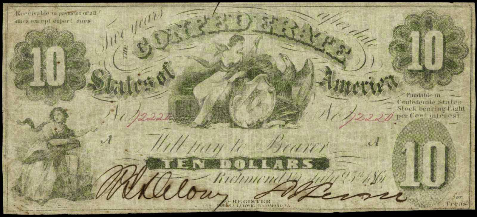 Confederate Paper Money 10 Dollars Note 1861