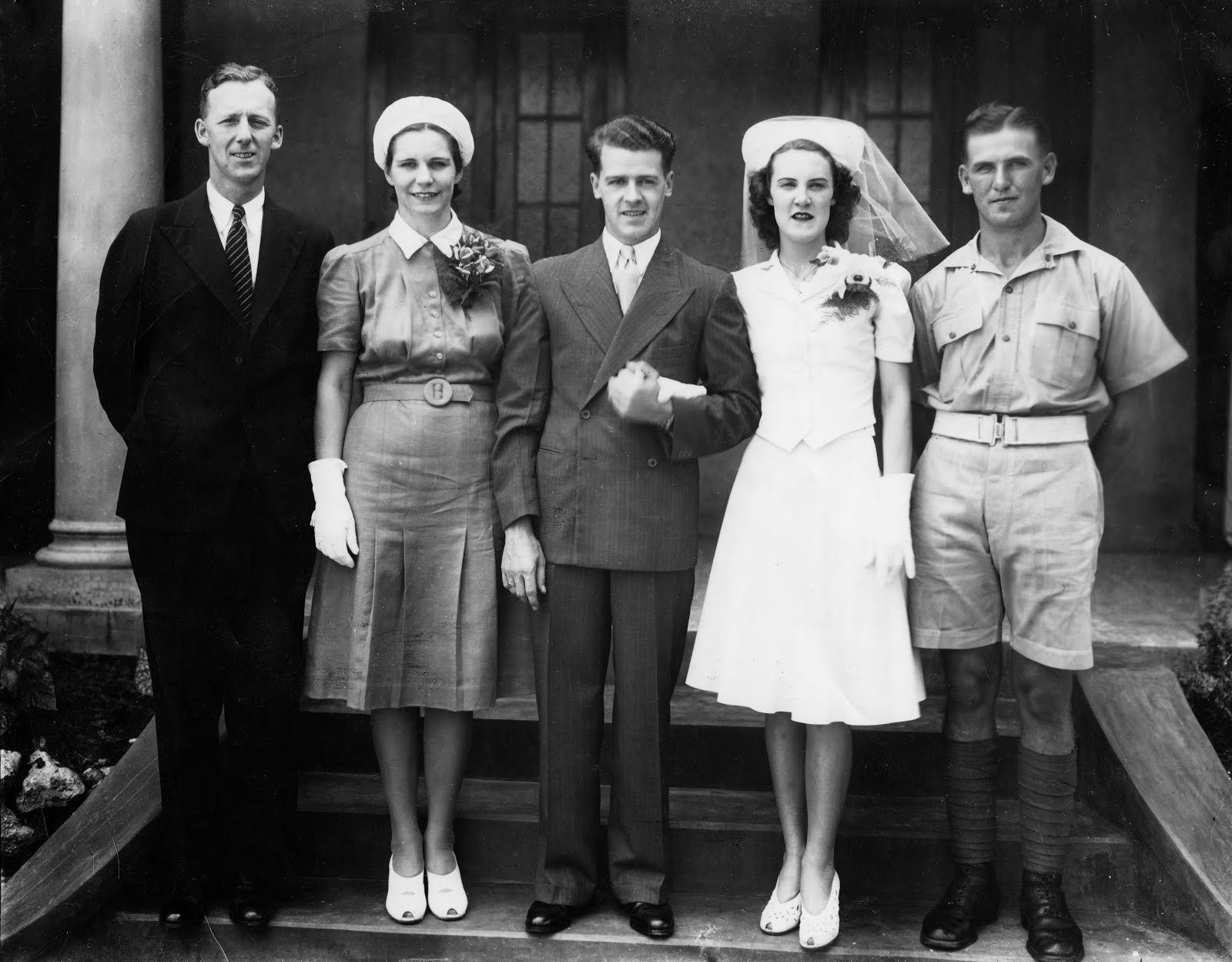 Harry Hunter's marriage to Thelma Hodgson. Also shown: Charles and Janet Broadbent, and Val Donovan