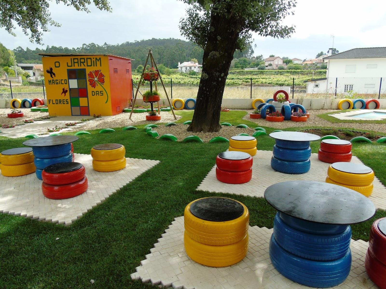 horta e jardim em pneus : horta e jardim em pneus: móveis de jardim construídos pelas crianças a partir de pneus
