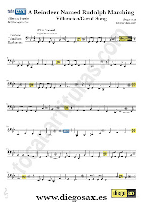 Tubescore A Reindeer named Rudolph sheet music for Trombone Tube and Euphonium Christmas Carol music score
