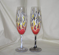 Born to be Wed with Flames Pattern on Flutes
