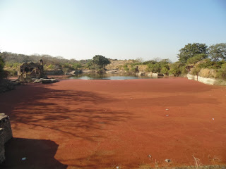 a red colored lake