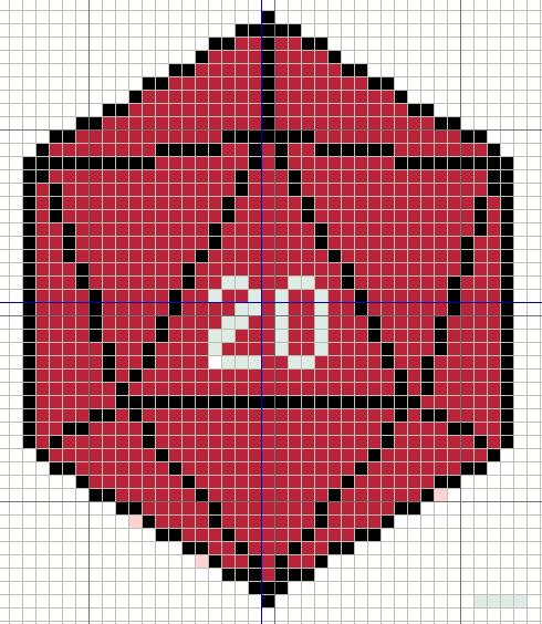 D20 Dice Cross Stitch