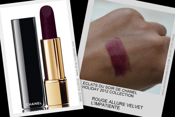 Eclats du Soire de Chanel Holiday 2012 Makeup Collection Rouge Allure Velvet Lipstick Limpatiente Indian Beauty Blog Darker Skin Swatch