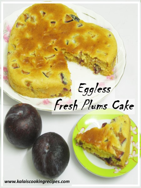 Homemade Eggless Fresh Plums Cake