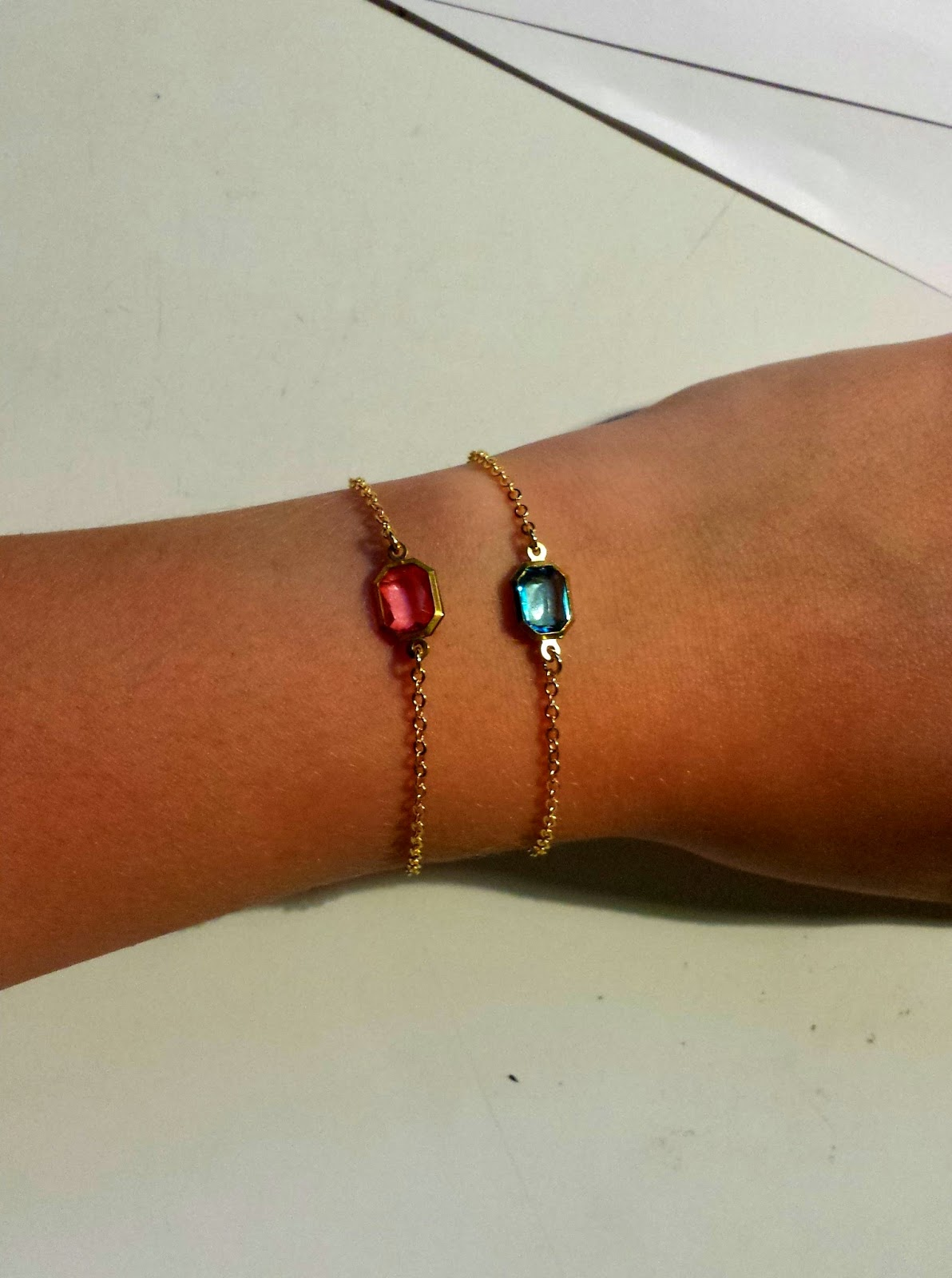 Clothes & Dreams: Self-rewarding during exams (shoplog): Armcatchers pink and blue bracelets