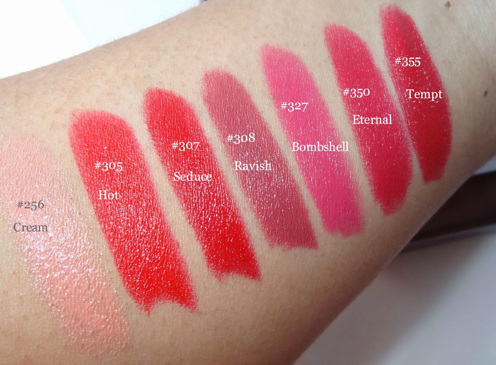 a picture of covergirl lip perfection lipstick swatches in #256,#305,#307,#327,#350,#355