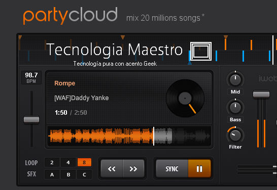 Mezclar música online con PartyCloud tecnologiamaestro.com