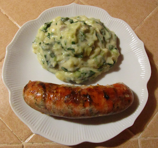 Mashed Potatoes Florentine Served with Salmon Sausage
