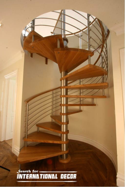 Spiral staircase to the second floor or attic in a private for Spiral stair design