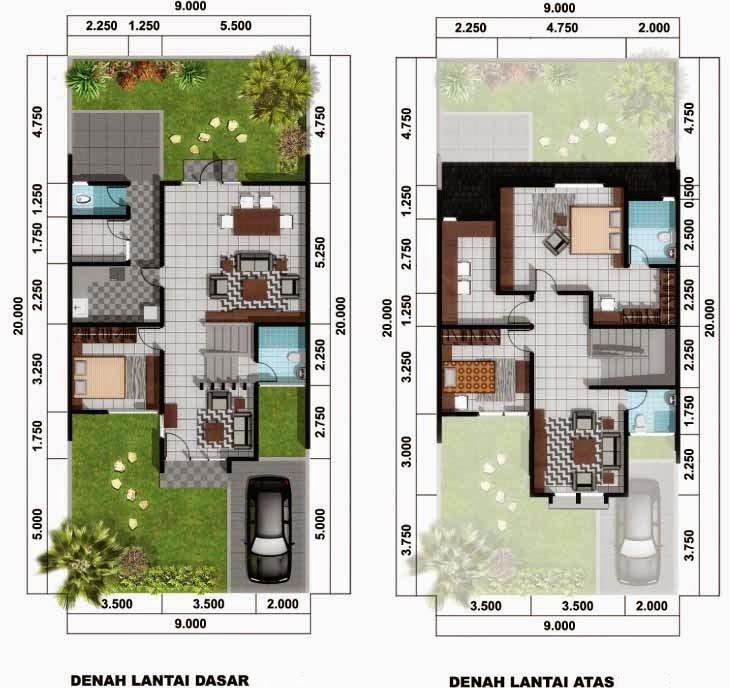 denah rumah type 45 2 lantai