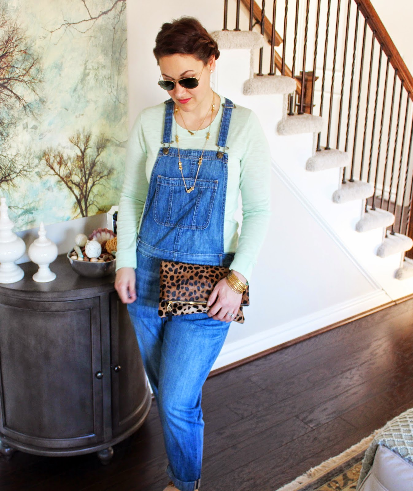 Old Navy Overalls, Jcrew Teddie Sweater, Teddy, Clare V Clutch, Leopard, Kate Spade Bow