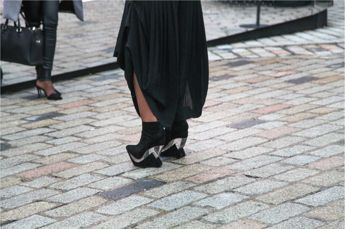 London Fashion Week streetstyle statement transparent platform heels