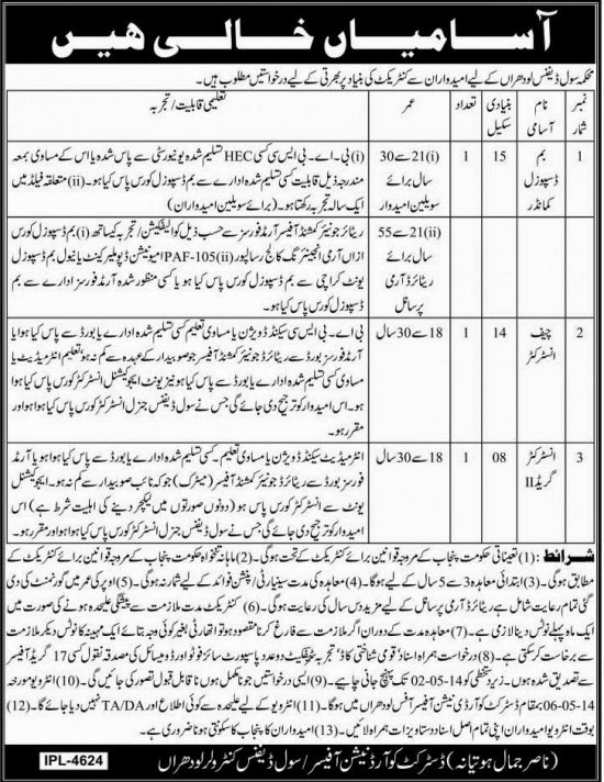 Jobs in Department of Civil Defense, Lodhran