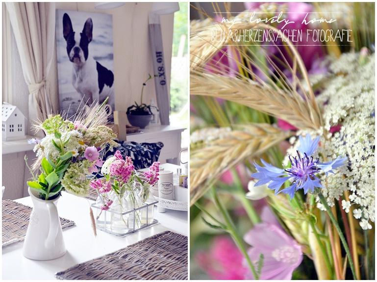 Esszimmer im Landhausstil mit Blumen